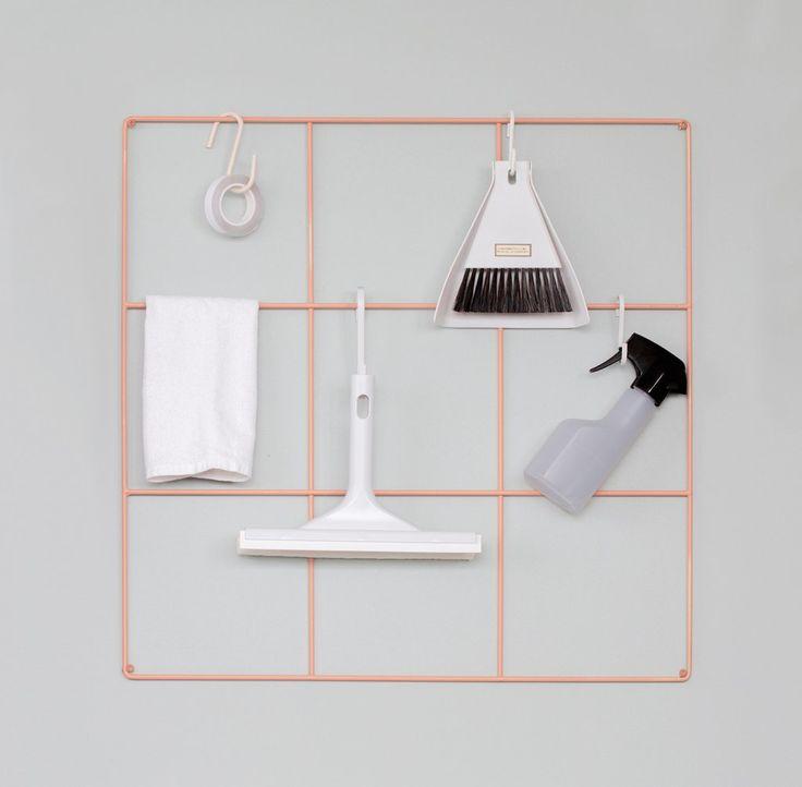 Wallment 9 Grid wire mesh grid for light storage. Finnish design.