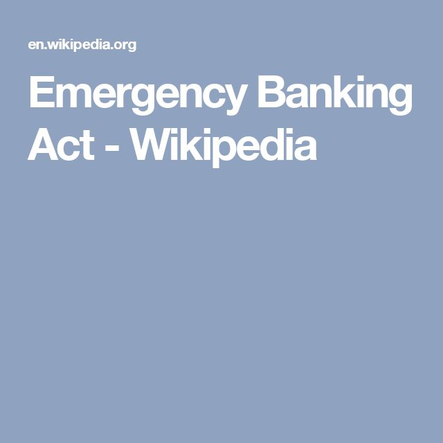 Emergency Banking Act - Wikipedia