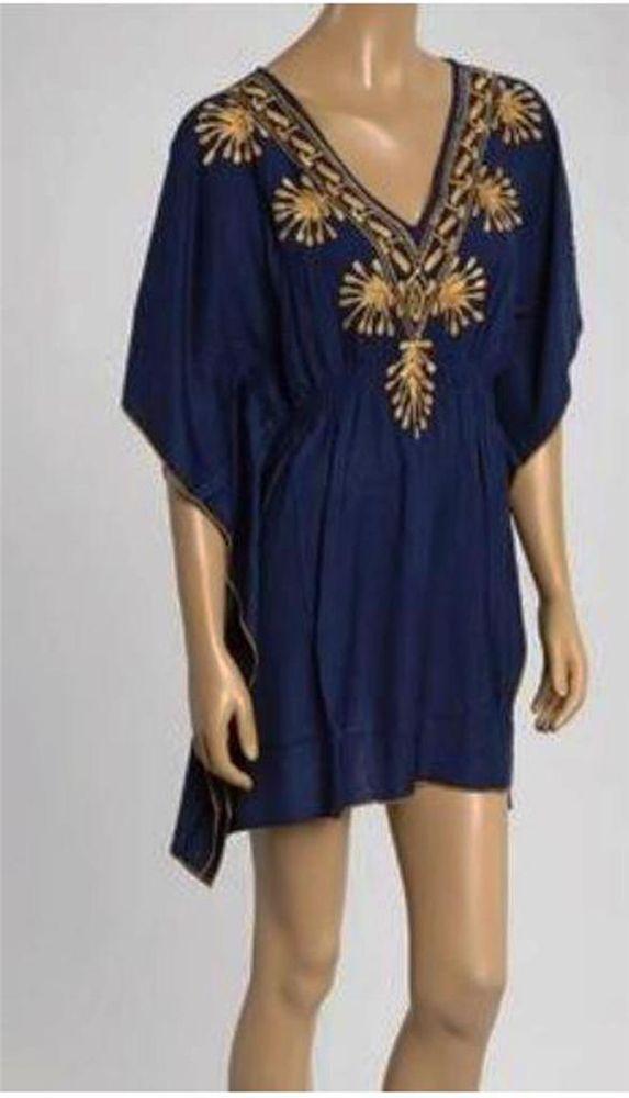 Plus Size Tunic 1x 2x 3x 4x 5x One Size Blue Gold Womens