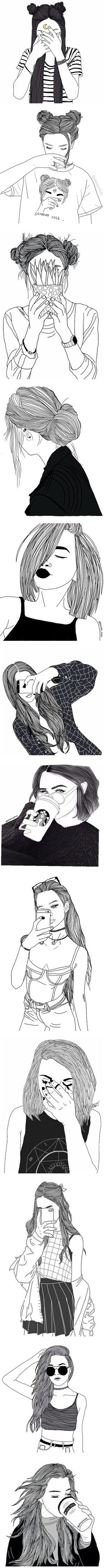 """black line drawings"" by xxharrietxx ❤ liked on Polyvore"