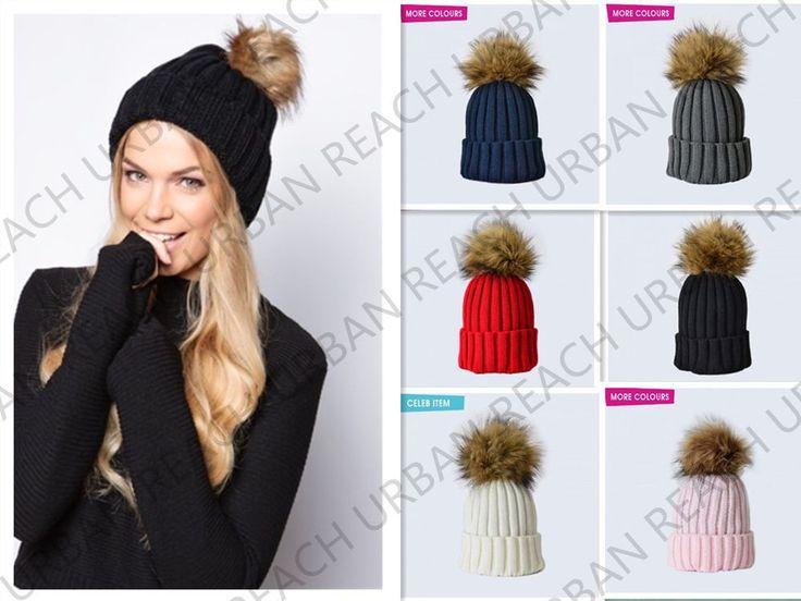 New Unisex FAUX Racoon FUR Detachable Knitted Pom Pom Bobble Beanie Hat