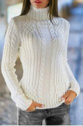 Elegant Solid Color Turtleneck Twist Wave Thick Pullover Sweater For Women