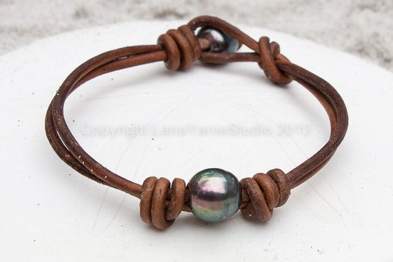 Freshwater Pearls and Leather Bracelet  by LeatherPearlJewelry, $42.99