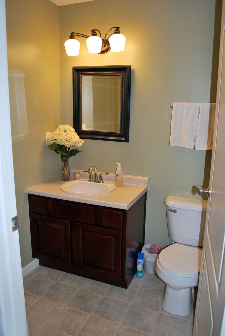 Decorating a half bath - Well Liked Square Dark Wood Wall Mount Mirror Over Small 2 Door Single White Bowl