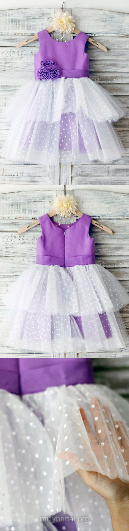 Purple Flower Girl Dresses Cute, Ankle-length Flower Girl Dress Multi Colours, Satin Flower Girl Dresses Tulle with Flower(s) Scoop Neck