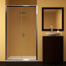 Mampara de ducha modelo Palencia de cristal de seguridad con una puerta mas un fijo. Distintos decorados y medidas a elegir.