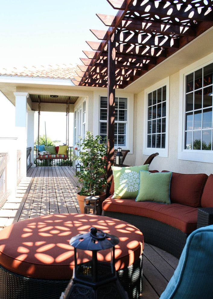 Baroque porch swing cushions in Porch Mediterranean with Pergola With Roof next to Add Pergola To Existing Deck alongside Patio Roofs and Trellis