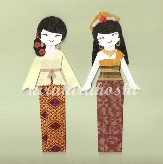 INDONESIAN BALINESE GIRL Paper Doll Card Topper by kirakirahoshi