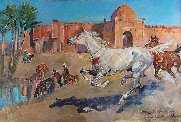 Wojciech KOSSAK  U bram Marrakeszu, 1940 olej, płótno; 70,5 x 105,5 cm;