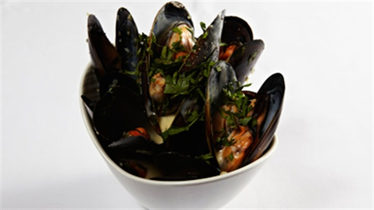 "Spring Bay Mussels ""Mouclade"" Normandy Style. Cooked in Apple Cider with curry powder. BEST mussels EVER!"