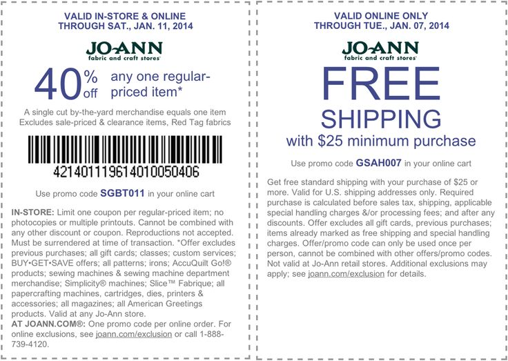 Pinned January 5th: 40% off a single item and more at Jo-Ann #Fabric, or online via promo code SGBT011 #coupon via The Coupons App
