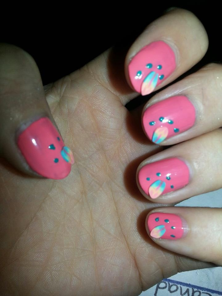 Feather fimo, coral base, turquoise dotting :) https://www.facebook.com/TrendyNailsByAmanda