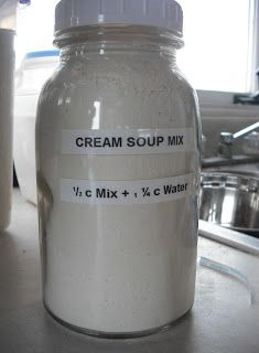 Cream of Chicken Soup mix. No more nasty ingredients! Mix with water and use in any recipe calling for Cream of Chicken or Cream of Mushroom (by adding mushrooms to the dish)