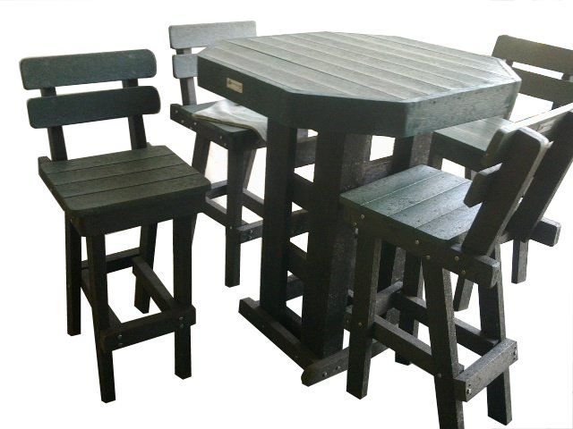 Recycled Plastic Bar Set with back