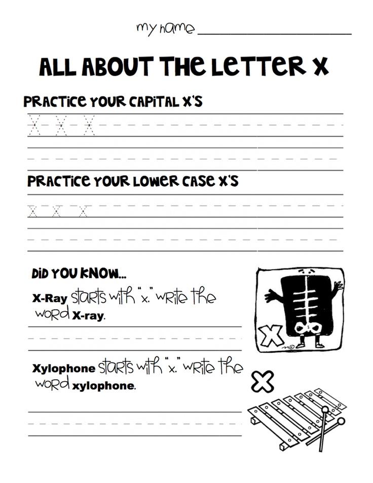 "the letter ""X"" worksheet for kindergarteners Letter X"