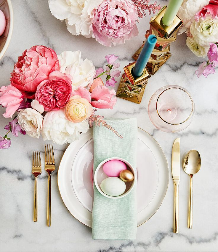 422 best finding tablescapes and party ideas images on for Easter dinner table setting ideas
