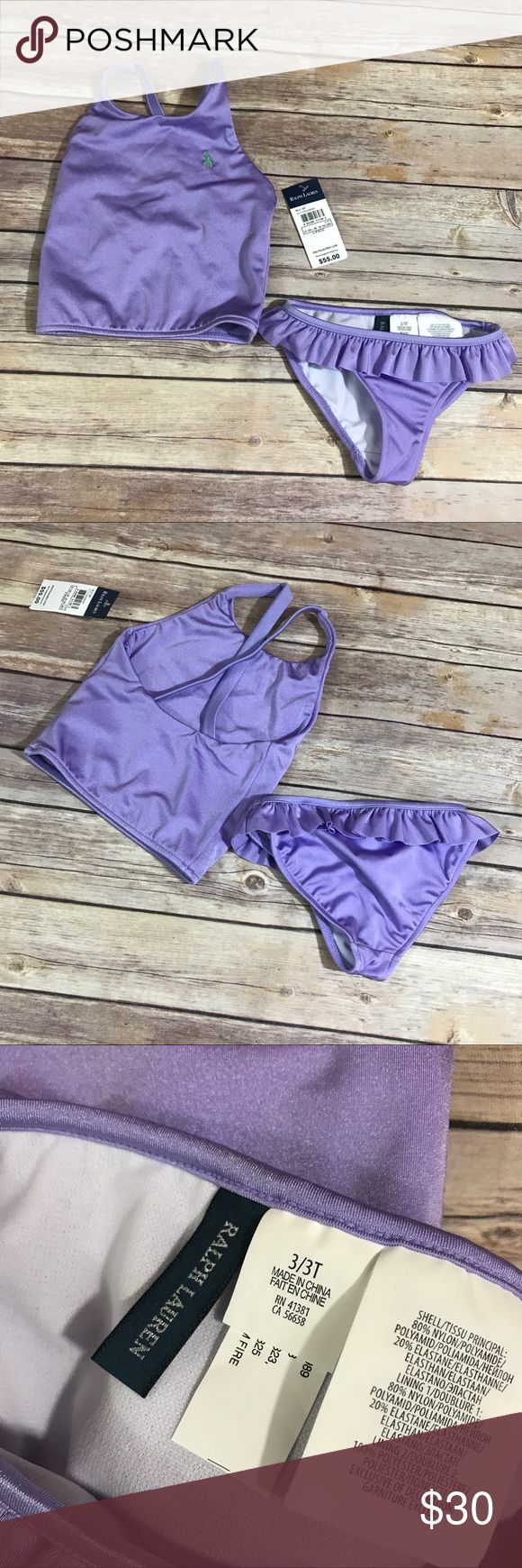 NEW NWT Ralph Lauren Lavender 2 Piece Tankini 3T NEW NWT Ralph Lauren Lavender 2 Piece Tankini 3T  Beautiful new with tags swimsuit in size 3T.  Top has two layers of the same material.  Bottoms are lined.  Ruffle on the bottom.  So cute.  #new #nwt #tankini #swimsuit #swim #tothebeach #preppy #ruffle #ruffles #ralphlauren #lavender #letsswim #bythepool Ralph Lauren Swim Bikinis