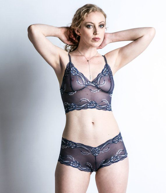 ec28673de36 Sheer Lingerie - See Through Blue Lace Panties -  Forget Me Not  Style  Underwear - Made To Order Wom
