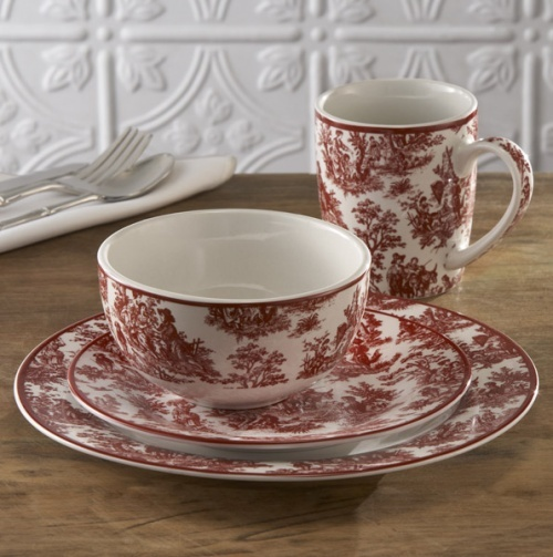 Toile Country Life Dinnerware in Red. My nana had this. I dream of it. And her orange juice glasses.