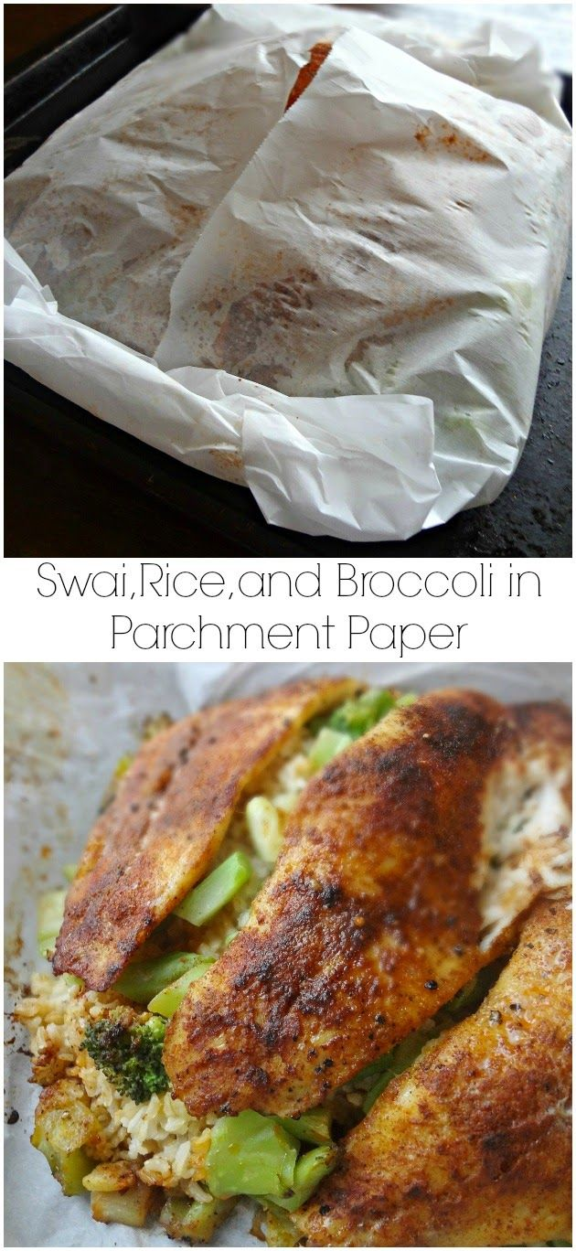 The cooking actress swai rice and broccoli in parchment for Fish in parchment recipes