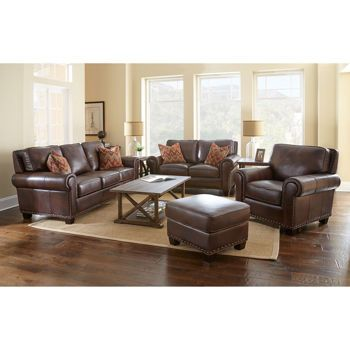 Atwood 4piece Top Grain Leather Set  Next House  Furniture