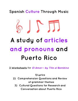 spanish articles and pronouns el amor song w culture puerto rico activities language and. Black Bedroom Furniture Sets. Home Design Ideas