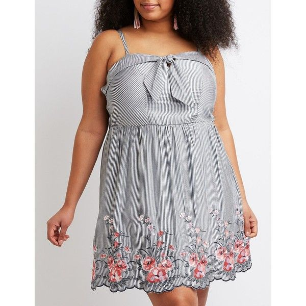 Charlotte Russe Striped Floral Embroidery Skater Dress 29