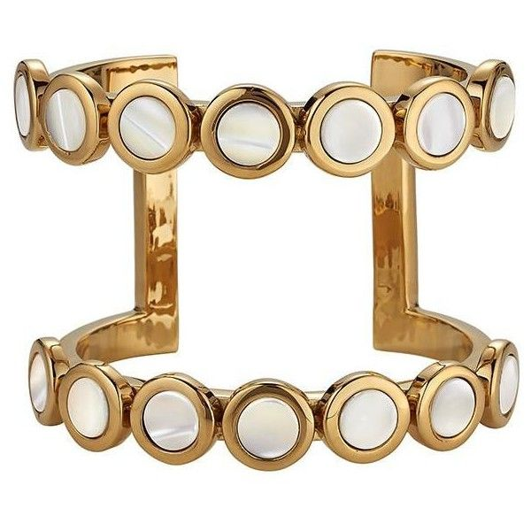 Flower Cuff ($495) ❤ liked on Polyvore featuring jewelry, bracelets, flower jewellery, flower jewelry, blossom jewelry, cuff jewelry and mother of pearl jewelry
