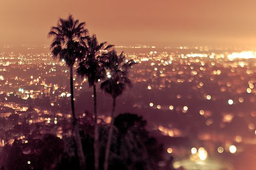 Home Los Angeles skyline view of the city lights...