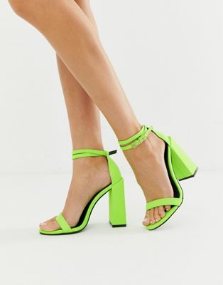 a43ef2ba842 DESIGN Highlight barely there block heeled sandals in neon green in ...