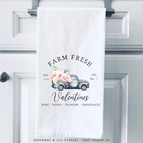 Flour Sack Tea Towels Valentines Day Decor Kitchen Decor Farmhouse Valentines Day Gift Valentines Tea Towel Valentine/'s Towel
