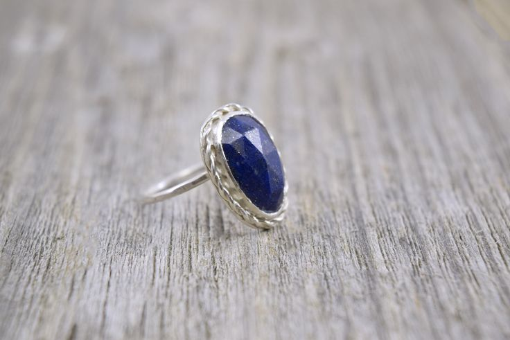 Silver Lapis Lazuli Ring - Faceted Lapis Lazli - Dark Blue Stone Ring - Sterling Silver Ring - Bezel Set Stone - September Birth Stone Ring by WiredPrairie on Etsy