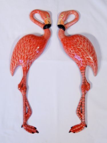 Hand-Painted-20-034-Pink-Flamingo-Bird-Wall-Mount-Decor-Sculpture-Set-of-2-81F