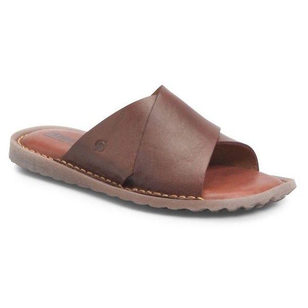 Men's B?rn Getaway Slide Sandal ($85) ❤ liked on Polyvore featuring men's fashion, men's shoes, men's sandals, brown leather, mens leather shoes, mens leather sandals, mens brown sandals, mens sandals and mens brown leather sandals