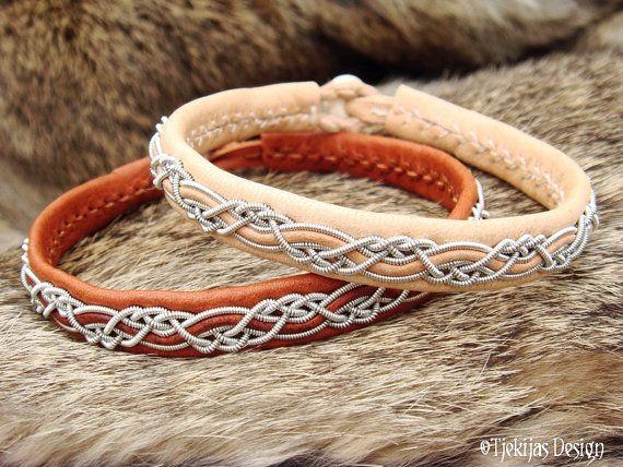 HUGINN Sami Bracelet - Swedish Lapland Viking Bracelet in Natural Reindeer Leather with Spun Tin Thread Braid and Antler button - Tribal Unisex jewelry Custom Handmade.