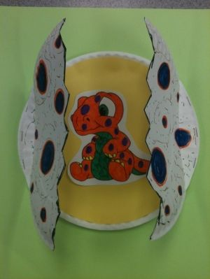 Hatching dinosaur egg craft made with paper plates by iris-flower