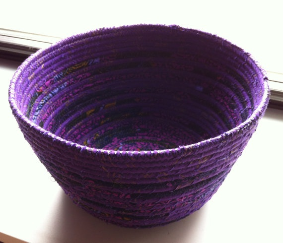Two Tone African Print Purple Fabric Bowl by WambuiMadeIt on Etsy, $40.00