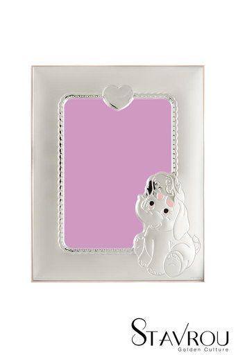 παιδική κορνίζα φωτογραφίας για κοριτσάκια ''ελεφαντάκια, καρδιά'' επάργυρη, με ροζ σμάλτο / 2ΚΟ0496 logo #δώρα_για_το_παιδικό_δωμάτιο #παιδικές_κορνίζες #κορνίζες_φωτογραφίας