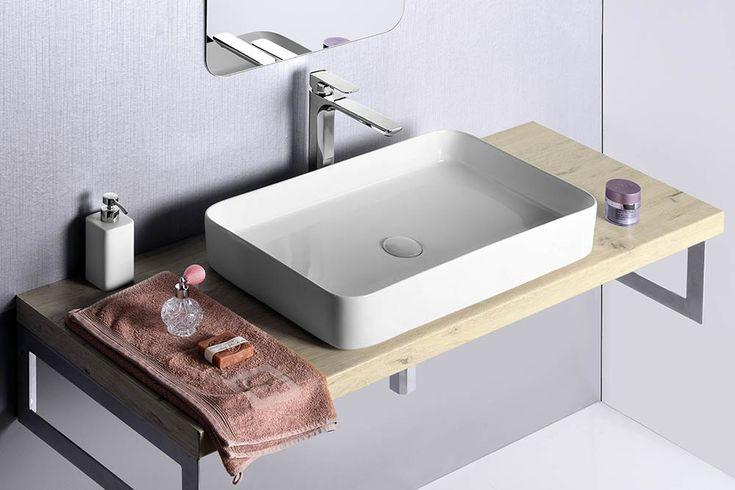BLADE keramické umyvadlo 65x11x40 cm, na desku, bez přepadu, SAPHO E-shop