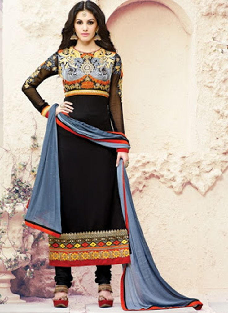 Look stunning Black Georgette Embroidered Designer Salwar Suit  in this features excellent Embroidered makes it appear glamorous.Comes with stunning dupatta