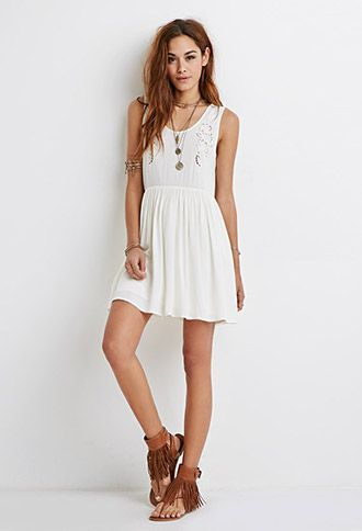 Embroidered Cutout Smock Dress | Forever21 - 2052287908