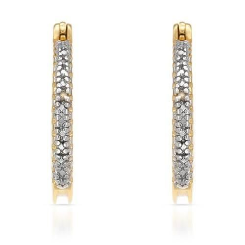 French lock earrings made with diamonds in 14K gold plated 925 silver and two tone color. Total item weight 4.7g. Length 22 mm. http://www.idealsmarter.com/?refid=31593e9f