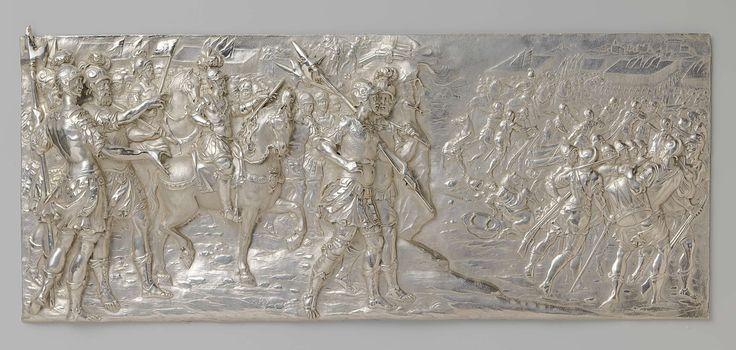 Matthias Melin | Veldheer Ambrogio Spinola tijdens de slag bij Casale tegen de Franse generaal de Toiras in 1630 tijdens de strijd om de erfopvolging te Mantua, Matthias Melin, 1636 | Een basreliëf van gedreven zilver die langwerpig en vierkant is met afgeronde hoeken, met de voorstelling van De veldheer A. Spinola tijdens de slag bij Casale tegen de Franse generaal de Toiras in 1630 tijdens de strijd om de erfopvolging te Mantua. Gesigneerd: .M.M.F.