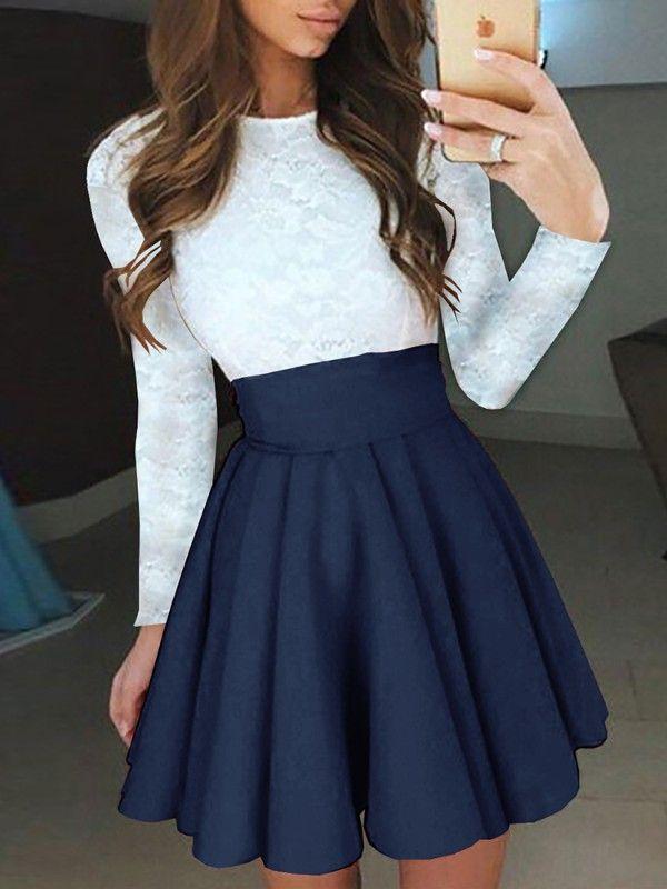 Crochet Lace Splicing Long Sleeve Pleated Dress 2