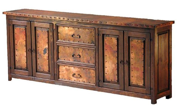 Handcrafted from reclaimed copper and aged wood, this unique buffet will warm any rustic, lodge, western, ranch, & southwestern decors. Custom furniture sizes.
