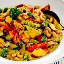 Kycklinggryta med curry och persika - Recept - Tasteline.com