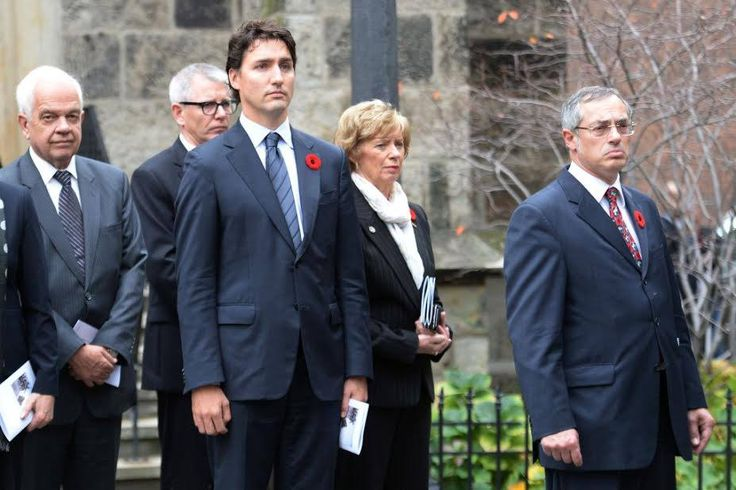Justin Trudeau, leader of the Liberal Party of Canada attends the funeral of Corporal Nathan Cirillo on Oct 28, 2014 in Hamilton.