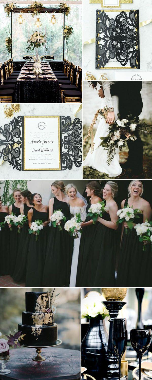 Elegant upscale glam gold and black laser cut wedding invitation#ElegantWeddingInvitescolor