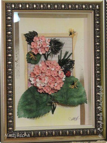 Картина панно рисунок Квиллинг Розовая гортензия Бумажные полосы фото 2