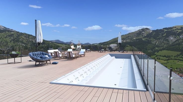 We build pools with hydromassage tubs on the roof of buildings with a gorgeous panorama of the city.